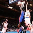 NEW YORK, NY - APRIL 15: Reggie Jackson #1 of the Detroit Pistons goes to the basket against Lou Amundson #21 of the New York Knicks on April 15, 2015 at Madison Square Garden in New York City. (Photo by Ned Dishman/NBAE via Getty Images)