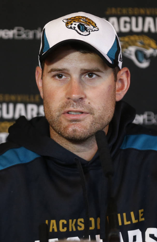 Jacksonville Jaguars' quarterback Chad Henne speaks to the media during a press conference at the Pennyhill Park Hotel and Spa in Bagshot, England, Wednesday, Oct. 23, 2013. Jaguars play San Francisco 49ers on Sunday in a NFL football game at Wembley Stadium  in London