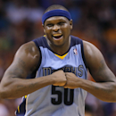 Memphis Grizzlies' Zach Randolph smiles during the second half of an NBA basketball game against the Phoenix Suns, Monday, April 14, 2014, in Phoenix. The Grizzlies won 97-91 The Associated Press
