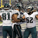 Philadelphia Eagles wide receiver Jordan Matthews (81) is congratulated by teammate Jason Kelce (62) after scoring during the first half of an NFL football game against the Dallas Cowboys, Thursday, Nov. 27, 2014, in Arlington, Texas The Associated Press