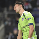 Anderlecht's goalkeeper Silvio Proto grimaces after losing the Group D Champions League match against Arsenal with a 2-1 score at Constant Vanden Stock Stadium in Brussels, Belgium, Wednesday Oct. 22, 2014
