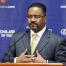 New Tulsa head basketball coach Frank Haith speaks to members of the media in Tulsa, Okla., Friday, April 18, 2014 The Associated Press