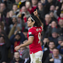 Manchester United's Radamel Falcao celebrates after scoring against Leicester during the English Premier League soccer match between Manchester United and Leicester at Old Trafford Stadium, Manchester, England, Saturday Jan. 31, 2015