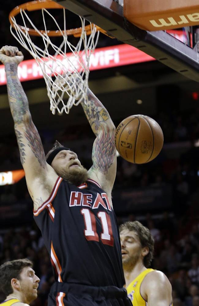 Miami Heat forward Chris Andersen (11) dunks against the Los Angeles Lakers  during the first quarter of an NBA basketball game in Miami, Thursday, Jan. 23, 2014