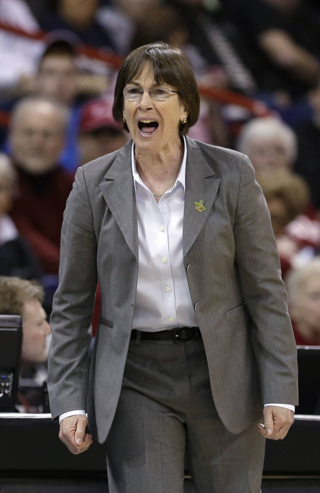 In this March 30, 2013 file photo, Stanford head coach Tara VanDerveer directs her team against Georgia in a regional semifinal in the NCAA women's college basketball tournament in Spokane, Wash. One thing on VanDerveer's mind is how much more balanced her team might be this season, taking some pressure off Chiney Ogwumike to do it all and actually give her a chance to take a breather from time to time