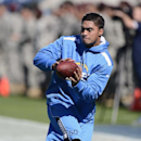 San Diego Chargers linebacker Manti Te'o warms up before an NFL football game between the Chargers and the Tennessee Titans on Sunday, Sept. 22, 2013, in Nashville, Tenn. (AP Photo/Mark Zaleski)