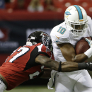 Miami Dolphins wide receiver Brandon Gibson (10) moves as Atlanta Falcons cornerback Robert McClain (27) defends during the first half of an NFL preseason football game, Friday, Aug. 8, 2014, in Atlanta The Associated Press