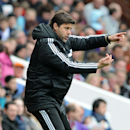 Southampton manager Mauricio Pochettino gives instructions from the touch line during the English Premier League soccer match between Aston Villa and Southampton at Villa Park, in Birmingham, England, Saturday, April 19, 2014