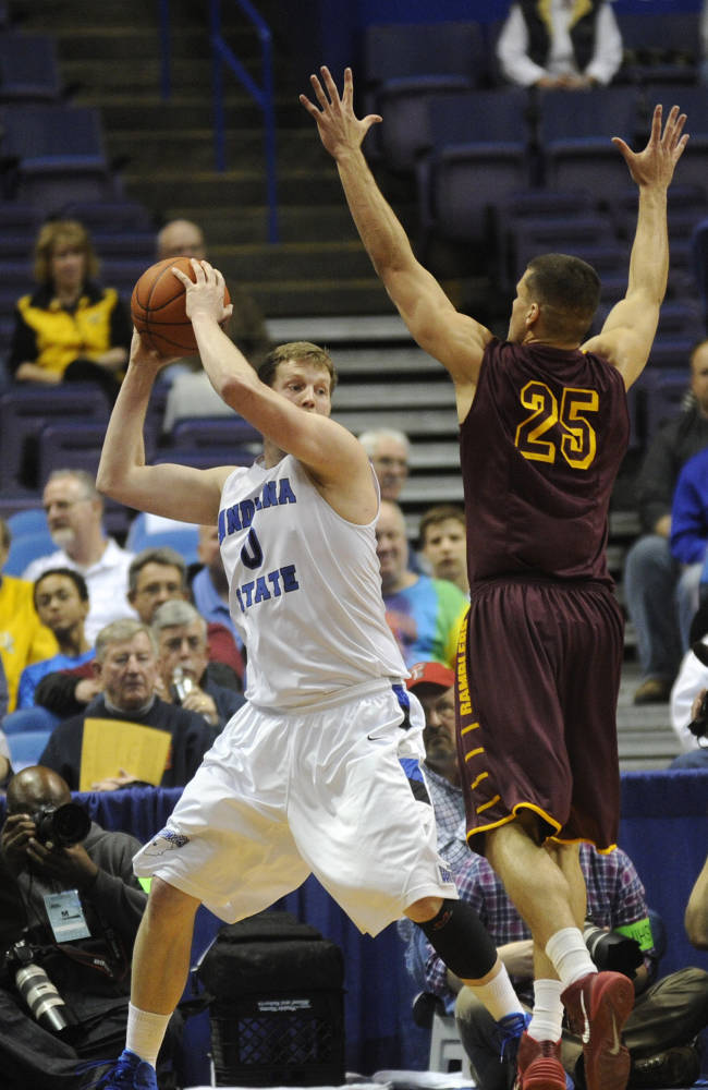 Indiana State's Jake Kitchell (0) looks to pass around Loyola of Chicago's Nick Osborne (25) during the first half of an NCAA college basketball game in the quarterfinals of the Missouri Valley Conference men's tournament, Friday, March 7, 2014  in St. Louis