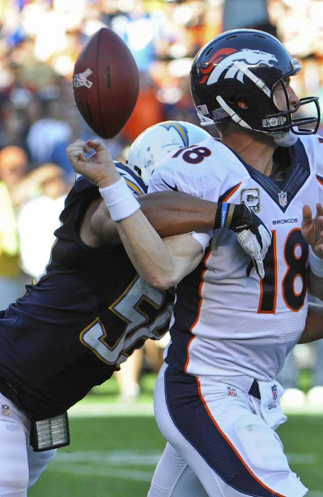 Denver Broncos quarterback Peyton Manning fumbles as he is hit by San Diego Chargers outside linebacker Tourek Williams during the third quarter of a NFL football game Sunday, Nov. 10, 2013, in San Diego. The Chargers recovered the fumble and scored a touchdown a few plays later