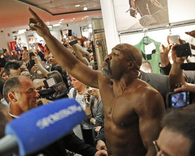 Former heavyweight world champion Shannon Briggs of the United States shouts during the weighing procedure of boxing challenger Alex Leapai from Australia-Samoa and world boxing champion Wladimir Klitschko of Ukraine ahead of their IBF, IBO, WBO and WBA heavyweight title bout  in Muelheim, Germany, Friday, April 25, 2014