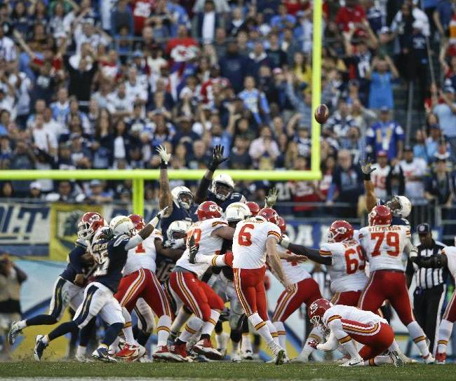 Kansas City Chiefs kicker Ryan Succop misses the possible game-winning field goal against the San Diego Chargers during the closing seconds of regulation of an NFL football game, Sunday, Dec. 29, 2013, in San Diego. The Chargers eventually won the game 27-24 in overtime