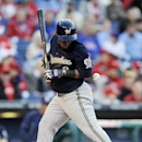 Milwaukee Brewers' Jean Segura is hit by a pitch from Philadelphia Phillies reliever Brad Lincoln in the eighth inning of a baseball game Tuesday, April 8, 2014, in Philadelphia. The Brewers won 10-4 The Associated Press