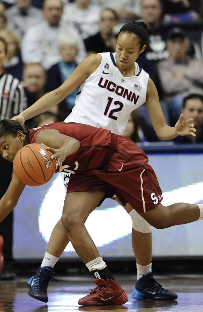 Stanford's Amber Orrange, front, maneuvers past Connecticut's Saniya Chong during the first half of an NCAA college basketball game, Monday, Nov. 11, 2013, in Storrs, Conn.  Orrange was top scorer for Stanford with 22 points. Connecticut won 76-57