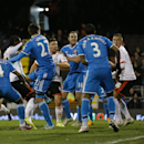 Fulham's Hugo Rodallega, second left, scores a goal during the English FA Cup fourth round replay soccer match between Fulham and Sunderland at Craven Cottage stadium in London, Tuesday, Feb. 3, 2015