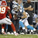 In this Aug. 17, 2014, file photo, Carolina Panthers' Brenton Bersin (2) runs after a catch as Kansas City Chiefs' Husain Abdullah (39) defends during the first half of a preseason NFL football game in Charlotte, N.C., Sunday, Aug. 17, 2014. Bersin is the