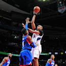 ATLANTA, GA - JANUARY 31: Al Horford #15 of the Atlanta Hawks puts up a shot against the Philadelphia 76ers on January 31, 2015 at Philips Arena in Atlanta, Georgia. (Photo by Scott Cunningham/NBAE via Getty Images)