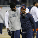 Dallas Cowboys wide receiver Dez Bryant talks with Chicago Bears cornerback Terrance Mitchell before an NFL football game Thursday, Dec. 4, 2014, in Chicago The Associated Press