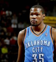 CLEVELAND, OH - MARCH 20: Kevin Durant #35 of the Oklahoma City Thunder stands on the court during a game against the Cleveland Cavaliers at The Quicken Loans Arena on March 20, 2014 in Cleveland, Ohio. (Photo by Gregory Shamus/NBAE via Getty Images)