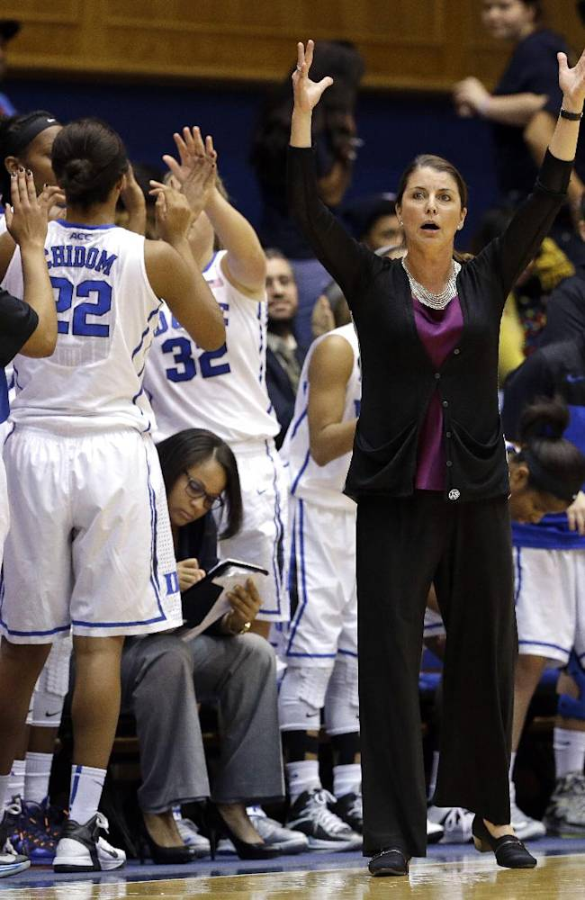 Duke coach Duke Blue Devils head coach Joanne P. McCallie, front right, reacts with her team during the second half of an NCAA college basketball game against Albany in Durham, N.C., Thursday, Dec. 19, 2013. Duke won 80-51