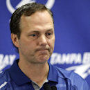 Tampa Bay Lightning head coach Jon Cooper talks about the trade of team captain Martin St. Louis to the New York Rangers, Wednesday, March 5, 2014, in Tampa, Fla. The Lightning got Ryan Callahan and a first and conditional second round draft pick in the t