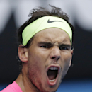 Rafael Nadal of Spain yells as he plays against Kevin Anderson of South Africa during their fourth round match at the Australian Open tennis championship in Melbourne, Australia, Sunday, Jan. 25, 2015. (AP Photo/Bernat Armangue)