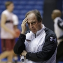 Temple head coach Fran Dunphy watches practice at the NCAA college basketball tournament, Thursday, March 21, 2013, in Dayton, Ohio. Temple plays North Carolina State in a second-round game Friday. (AP Photo/Al Behrman)