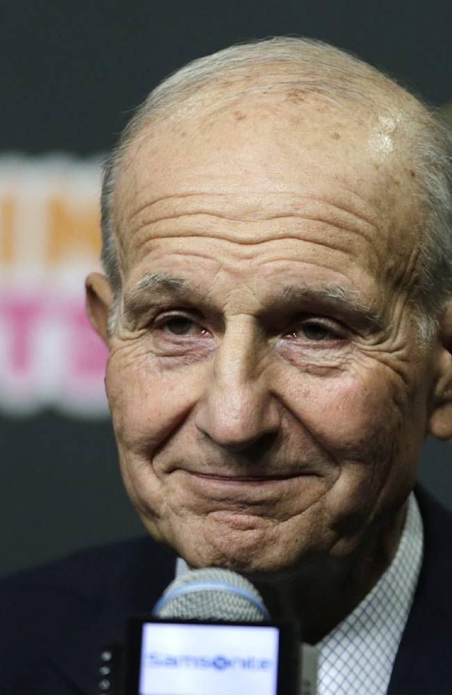 Boston Bruins owner Jeremy Jacobs listens to a reporter's question during a news conference in Boston, Tuesday, May 20, 2014. The Bruins were eliminated from the NHL hockey playoffs by the Montreal Canadiens