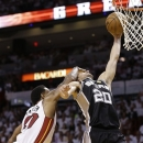 Miami Heat forward Udonis Haslem (40) makes contact with San Antonio Spurs shooting guard Manu Ginobili (20) during the first half of Game 1 of basketball's NBA Finals, Thursday, June 6, 2013 in Miami. (AP Photo/Lynne Sladky)