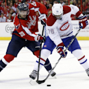 Washington Capitals right wing Troy Brouwer (20) and Montreal Canadiens defenseman P.K. Subban (76) go for the puck in the second period of an NHL hockey game Friday, Nov. 22, 2013, in Washington The Associated Press