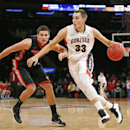 Gonzaga forward Kyle Wiltjer (33) drives toward the basket with Georgia forward Houston Kessler (24) trailing behind in the first half of an NCAA college basketball game in New York, Wednesday, Nov. 26, 2014. (AP Photo/Kathy Willens)