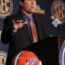 Florida coach Will Muschamp speaks to the media at the Southeastern Conference NCAA college football media day in Hoover, Ala. on Wednesday, July 18 , 2012. (AP Photo/Butch Dill)