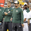 Green Bay Packers' Aaron Rodgers, right, and Jordy Nelson on the sidelines during the first half of an NFL football preseason game against the Kansas City Chiefs Thursday, Aug. 28, 2014, in Green Bay, Wis The Associated Press