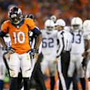 Denver Broncos wide receiver Emmanuel Sanders, left, walks away after failing to covert on fourth down against the Indianapolis Colts during the second half of an NFL divisional playoff football game, Sunday, Jan. 11, 2015, in Denver The Associated Press