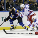 St. Louis Blues' Paul Stastny (26) battles New York Rangers' John Moore (17) for the loose puck in the second period of an NHL hockey game, Thursday, Oct. 9, 2014, in St. Louis The Associated Press
