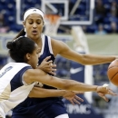 Pittsburgh's Brianna Kiesel (3) reaches for the ball as Notre Dame's Skylar Diggins (4) brings the ball down court in the first half of their NCAA college basketball game, Wednesday, Jan. 23, 2013, in Pittsburgh. (AP Photo/Keith Srakocic)