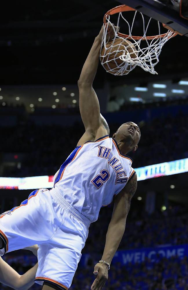 Oklahoma City Thunder forward Caron Butler (2) goes up for a dunk against the Memphis Grizzlies during the fourth quarter of Game 1 of the opening-round NBA basketball playoff series in Oklahoma City on Saturday, April 19, 2014. Oklahoma City won 100-86