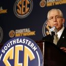 SEC Commissioner Mike Slive speaks to the media at the Southeastern Conference NCAA college football media day in Hoover, Ala. on July 17, 2012. (AP Photo/Butch Dill)