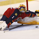 Florida Panthers' goalie Roberto Luongo (1) blocks an Arizona Coyotes shot on goal during the second period of a NHL hockey game in Sunrise, Fla., Thursday, Oct. 30, 2014 The Associated Press