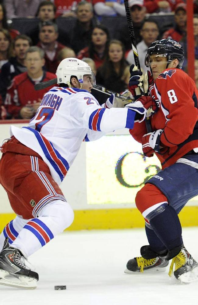 Washington Capitals right wing Alex Ovechkin (8), of Russia, battles for the puck against New York Rangers defenseman Ryan McDonagh, left, during the first period an NHL hockey game, Friday, Dec. 27, 2013, in Washington