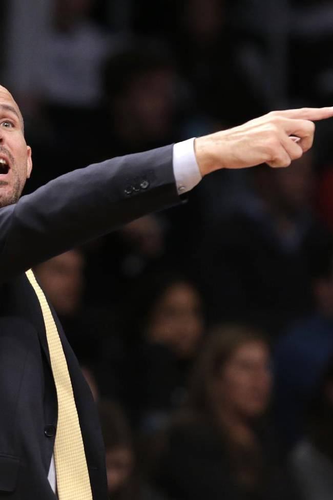 Brooklyn Nets head coach Jason Kidd yells to his team in the second half of an NBA basketball game against the Detroit Pistons, Sunday, Nov. 24, 2013, in New York. The Pistons won 109-97