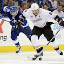 Anaheim Ducks right wing Teemu Selanne (8), of Finland, starts a breakout past Tampa Bay Lightning center Valtteri Filppula (51), also of Finland, during the third period of an NHL hockey game on Thursday, Nov. 14, 2013, in Tampa, Fla The Associated Press