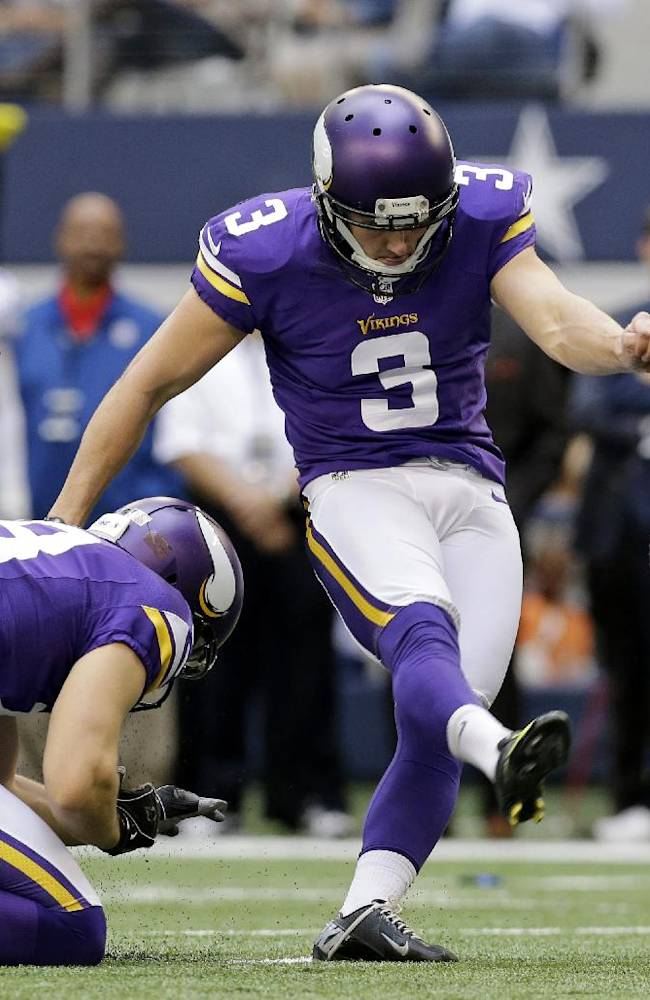 Minnesota Vikings punter Jeff Locke (18) holds for kicker Blair Walsh (3) as Walsh kicks a field goal against the Dallas Cowboys in the first half of an NFL football game, Sunday, Nov. 3, 2013, in Arlington, Texas