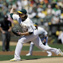 Oakland Athletics' A.J. Griffin works against the Tampa Bay Rays in the first inning of a baseball game Sunday, Sept. 1, 2013, in Oakland, Calif. (AP Photo/Ben Margot)