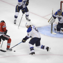 Chicago Blackhawks right wing Patrick Kane can't get a handle on the puck in front of the St. Louis net in Game 4 of a first-round NHL hockey playoff series in Chicago, Ill. on Wednesday, April 23, 2014. (AP photo/Daily Herald, John Starks) The Associat