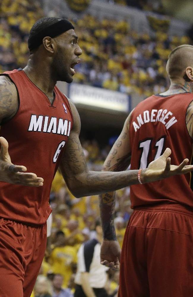 Miami Heat's LeBron James (6) reacts after his teammate Chris Andersen (11) was called for a foul during the second half of Game 1 of the Eastern Conference finals NBA basketball playoff series against the Indiana Pacers Sunday, May 18, 2014, in Indianapolis. Indiana defeated Miami 107-96