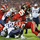 Kansas City Chiefs running back Jamaal Charles (25) dives into the end zone after catching a 5-yard pass for a touchdown during the second quarter of an NFL football game against the New England Patriots, Monday, Sept. 29, 2014, in Kansas City, Mo The Ass