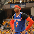 INDIANAPOLIS, IN - MAY 18:  Carmelo Anthony #7 of the New York Knicks looks on during Game Six of the Eastern Conference Semifinals between the New York Knicks and the Indiana Pacers during the 2013 NBA Playoffs on May 18, 2013 at Bankers Life Fieldhouse in Indianapolis, Indiana.  (Photo by Ron Hoskins/NBAE via Getty Images)