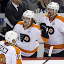 Philadelphia Flyers' Brayden Schenn (10) celebrates his first-period goal with teammates Claude Giroux (28) and Scott Hartnell (19) during an NHL hockey game against the Pittsburgh Penguins in Pittsburgh, Wednesday, Nov. 13, 2013 The Associated Press