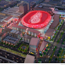 A rendering provided by the Olympia Development of Michigan, shows the proposed entertainment district that includes a new 18,000-seat hockey arena for the Detroit Red Wings. The city's Downtown Development Authority approved on Tuesday, Sept. 16, 2014, t